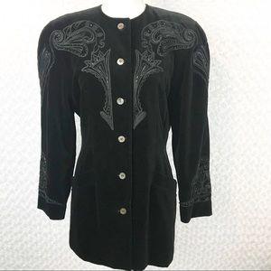 Vintage Escada Black Velvet Embellished Jacket EUC
